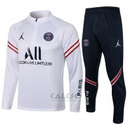 Tuta da Track Felpa Paris Saint-Germain 2021-2022 Bianco